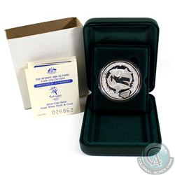 2000 Sydney Olympic 1oz .9999 Fine Silver Coin - Great White Shark and Coral. Coin comes encapsulate