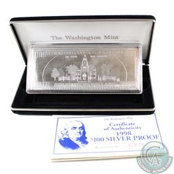 1998 Washington Mint $100 Franklin 4oz .999 Fine Silver bar (Tax Exempt). Comes with all original Mi