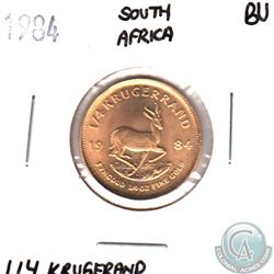 1984 South Africa 1/4oz Gold Kruggerand Brilliant Uncirculated. Coin weigh 8.48 grams and contains 0