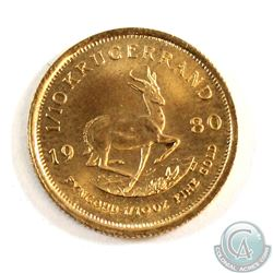 1980 South Africa 1/10oz Gold Kruggerand. Coin weighs 3.39 grams and contains 0.1 oz. of Pure Gold