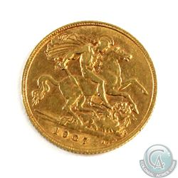 1907 Great Britain Gold Half Sovereign. Coin weighs 3.99 grams and contains 0.1177 oz. of Pure Gold.