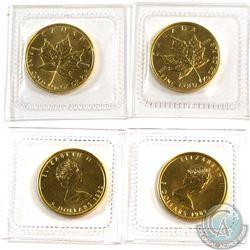 2x 1987 Canada 1/10 oz. $5 .9999 Fine Gold Maple Leaf (TAX Exempt). 2pcs