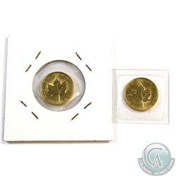 1987 & 1988 Canada 1/10 oz. $5 .9999 Fine Gold Maple leaf (Tax Exempt). 2pcs