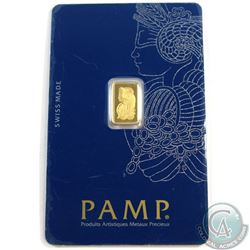Pamp Suisse: 1 gram PAMP Suisse 999.9 Fine Gold Bar - Lady Fortuna (TAX Exempt). Bar comes sealed in