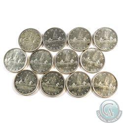 12x 1953 Canada Silver Dollars. 12pcs