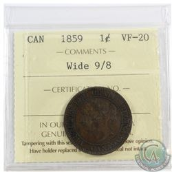 1-cent 1859 Wide 9/8, ICCS Certified VF-20.