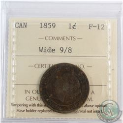 1-cent 1859 Wide 9/8, ICCS Certified F-12.