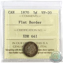 5-cent 1870 Flat Border, ICCS Certified VF-20