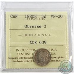 5-cent 1880H Obv.3 ICCS Certified VF-20. A Light Coin with a hint of rose toning throughout.