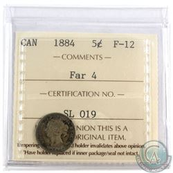 5-cent 1884 Far 4, ICCS Certified F-12 *Key Date*