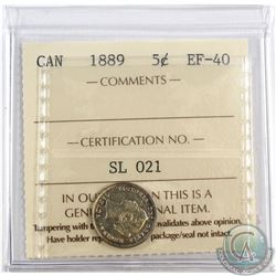 5-cent 1889 ICCS Certified EF-40. A Bright Lustrous coin.