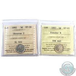 5-cent 1892 Obv.2 VF-30 & 1897 Slender 8 EF-40. Both coins ICCS Certified. 2pcs