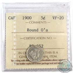 5-cent 1900 Round 0s, ICCS Certified VF-20.