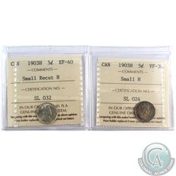 5-cent 1903H Small H VF-30, & 1903H Small Recut H EF-40. Both Coins ICCS Certified. 2pcs