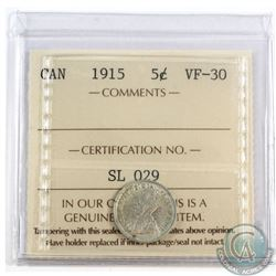 5-cent 1915 ICCS Certified VF-30. *Key Date*