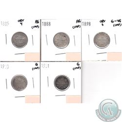 Lot of 5x Canada 10-cent Dated 1885 Obverse 4, 1888, 1898 Obverse 6, 1900 & 1901 in AG to G-VG (coin