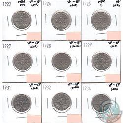 Lot of 9x Canada 5-cent Dated 1922 Near Rim, 1924, 1926 Near 6, 1927, 1928, 1929, 1931, 1932 & 1934