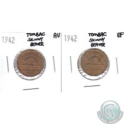 Lot of 2x 1942 Canada 5-cent Tombac Skinny Beaver in EF & AU. 2pcs