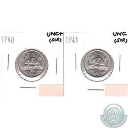 1940 Canada 5-cent UNC+ (scratched) & 1941 5-cent UNC (scratched). 2pcs