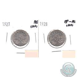 1927 Canada 5-cent AU (scratched) & 1928 5-cent EF-AU (scratched). 2pcs
