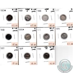 Lot of 1882-1900 Canada Silver 5-cent Collection. You will receive the following dates: 1882, 1885 L