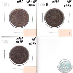 1865 NFLD 1-cent VF-EF, 1876H NFLD 1-cent VF, 1880 NFLD RO ED 1-cent VF. Coins are impaired. 3pcs.