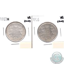 1903H & 1906 Canada Silver 50-cent Very Good (cleaned) 2pcs.