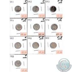 Lot of 1911-1920 Canada Silver 5-cent Collection. You will receive the following dates: 1911, 1912,