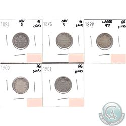 Lot of 5x Canada 10-cent Dated 1894 Obverse 5, 1896 Obverse 6, 1899 Large 9's, 1900 & 1901 in AG or
