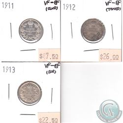 Lot of 3x Canada 10-cent VF-EF Dated 1911-1913 (coins have various impairments). 3pcs