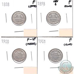 Lot of 4x Canada 10-cent Dated 1888, 1898 Obverse 6, 1900 & 1901 in Fine or F-VF (coins have various