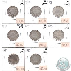 Lot of 8x Canada 25-cents G or G-VG Dated 1903, 1905, 1908, 1909, 1911, 1915, 1921 & 1927. The coins