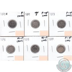 Lot of 6x Canada 5-cent VG-F to F-VF Dated 1890, 1891 Obv 2, 1893, 1896, 1898 & 1899. The coins have