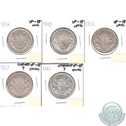 Lot of 5x Canada 50-cents VF-EF Dated 1944, 1945, 1946, 1947 Curved 7 & 1947 Straight 7. The coins h