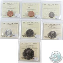 Lot of 7x Canada 1-cent, 10-cent, 25-cent & $1 ICCS Certified MS-63/64. You will receive 1963 1-cent