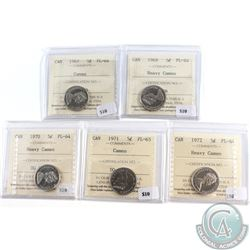 Lot of 5x Canada 5-cent ICCS Certified Coins Dated 1967 PL-64 Cameo, 1969 PL-64 Heavy Cameo, 1970 PL