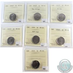 Lot of 7x Canada 5-cent ICCS Certified MS-64 Dated 2002P, 2003P New Effigy, 2005P VE Day, 2005P, 200