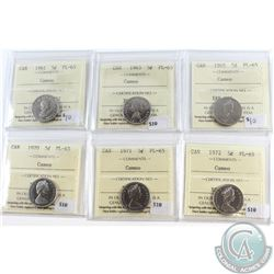 Lot of 6x Canada 5-cent ICCS Certified PL-65 Cameo Dated 1961, 1963, 1965, 1970, 1971 & 1972. 6pcs