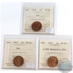 Lot of 3x Canada 1-cent ICCS Certified MS-64 Red Dated 1946, 1947 & 1949 A Off Denticle. 3pcs