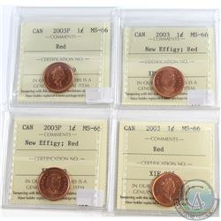 Lot of 4x Canada 1-cent ICCS Certified MS-66 Red Dated 2003P, 2003 New Effigy, 2003P New Effigy & 20