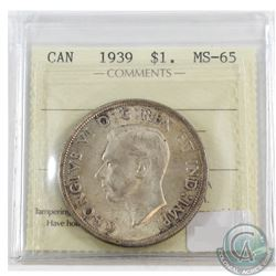 1939 Canada Silver $1 ICCS Certified MS-65
