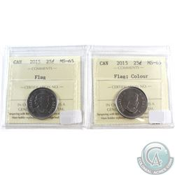 2015 Flag, 2015 Coloured Flag Canada 25-cent ICCS Certified MS-65. 2pcs.