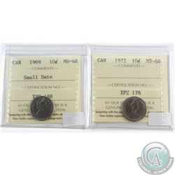 Lot of 2x Canada 10-cent ICCS Certified MS-66 Dated 1969 Small Date & 1972. 2pcs