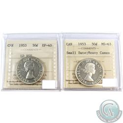 1953 Canada 50-cent LD NSF ICCS Certified EF-40 & 1953 50-cent Small Date MS-63 Heavy Cameo. 2pcs