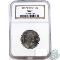 2005P Canada 50-cent NGC Certified MS-67. NGC Slab contains faint scratches.