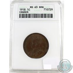 1918 Canada 1-cent ANACS Certified MS-63 Brown