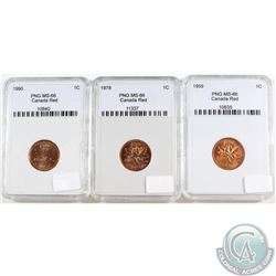 1959, 1978, 1990 Canada 1-cent PNG Certified MS-66 Red. Please note holders may have faint scratches