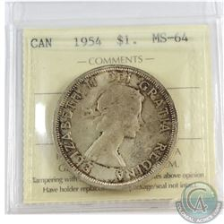 1954 Canada Silver $1 ICCS Certified MS-64