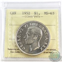 1952 Canada Silver $1 NWL ICCS Certified MS-63