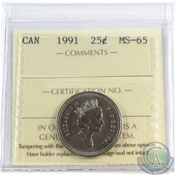 1991 Canada 25-cent ICCS Certified MS-65